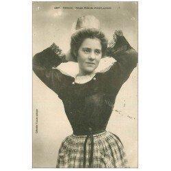 carte postale ancienne 29 PONT-AVEN. Rêverie de Jeune Fille 1906