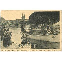 carte postale ancienne 29 QUIMPER. Départ du Bateau-automobile 1929. Loctudy et Beg-Meil