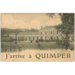 carte postale ancienne 29 QUIMPER. La Gare avec Autocars visite