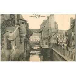 carte postale ancienne 29 QUIMPER. Tourelles et Maisons sur le Steir