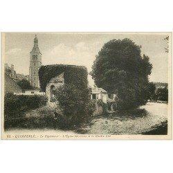 carte postale ancienne 29 QUIMPERLE. Pigeonnier Eglise Sainte-Croix et Rivière Ellé