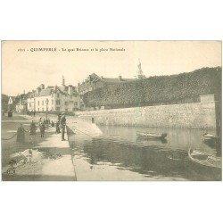 carte postale ancienne 29 QUIMPERLE. Quai Brizeux Place Nationale. Pêcheur à la ligne