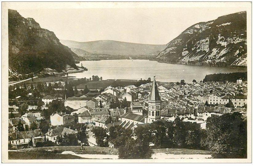 carte postale ancienne 01 NANTUA. Ville 1936. Carte photo