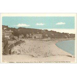 carte postale ancienne 29 TREBOUL. Colonie Vacances du Mans. Plage