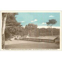 carte postale ancienne 29 TREBOUL. Colonie Vacances du Mans. Terrains de jeu et Cuisine