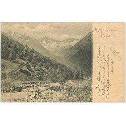 carte postale ancienne 31 BAGNERES-DE-LUCHON. Vallée du Lys 1901 avec Pêcheur