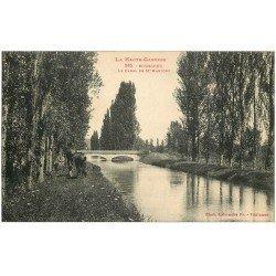 carte postale ancienne 31 BOUSSENS. Canal de Saint-Martory 1925 avec Chevaux