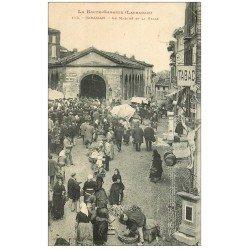 carte postale ancienne 31 CARAMAN. Marché et Halles 1908 Tabac et Croix avec Christ