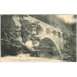 carte postale ancienne 31 LUCHON. Chemin de Fer à Crémaillère. Viaduc du Mail Trinquat 1913