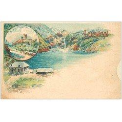 carte postale ancienne 31 LUCHON. Tour de Castelviel et Lac d'Oo vers 1900