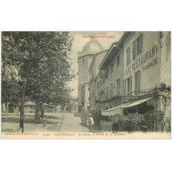 carte postale ancienne 31 MONTREJEAU. Clocher Place de la Poste. Café Saubadie