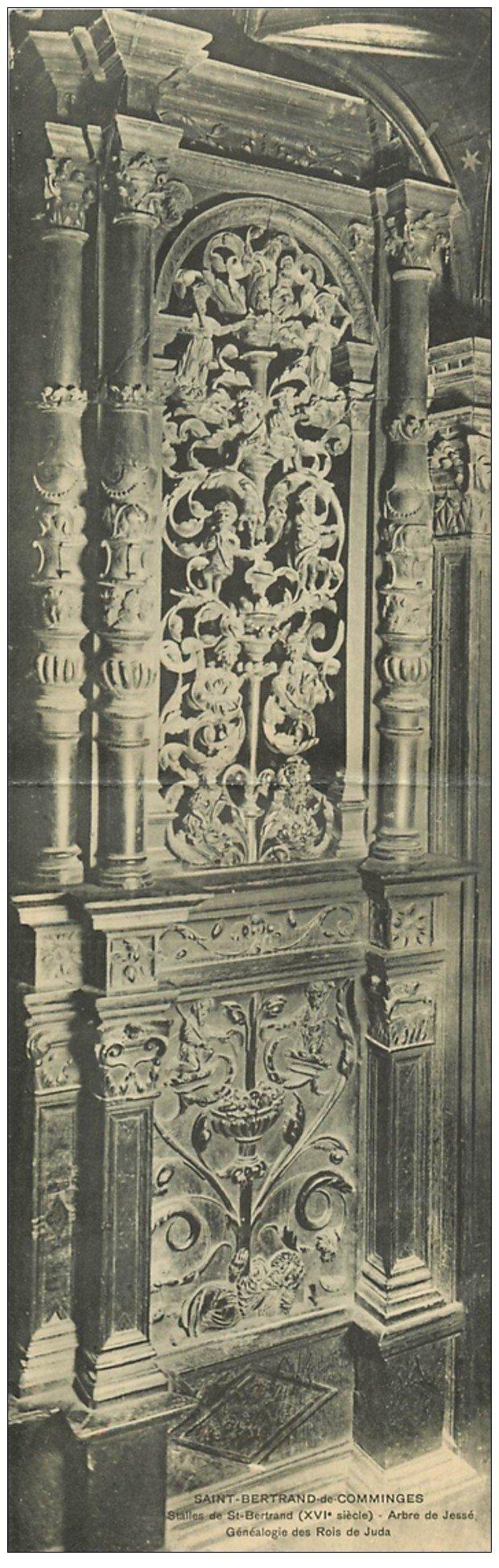carte postale ancienne 31 SAINT-BERTRAND-DE-COMMINGES. Arbre de Jessé généalogie des Rois de Juda. Carte double