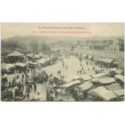carte postale ancienne 31 SALIES-DU-SALAT. Le Marché Place Compans