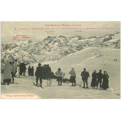 carte postale ancienne 31 SUPERBAGNERES. Skieurs sur le Plateau. Sports d'Hiver