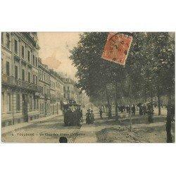 carte postale ancienne 31 TOULOUSE. Allées Lafayette 1908. Pli coin gauche
