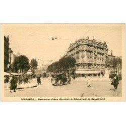 carte postale ancienne 31 TOULOUSE. Carrefour Place Matabiau et Boulevard de Strasbourg