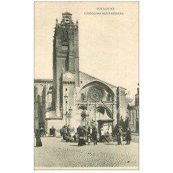 carte postale ancienne 31 TOULOUSE. Cathédrale Saint-Etienne Cireurs de chaussures