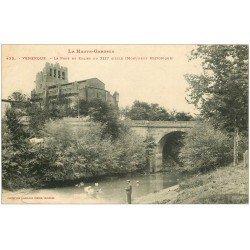 carte postale ancienne 31 VENERQUE. Pont et Eglise 1909