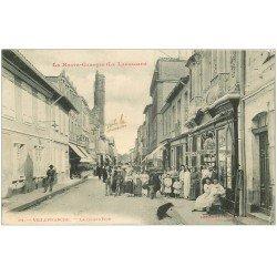 carte postale ancienne 31 VILLEFRANCHE. La Grand'Rue 1908 magasin de Cartes Postales et Cravates