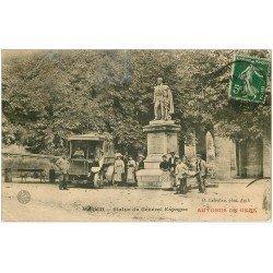 carte postale ancienne 32 AUCH. Autobus du Gers. Statue Général Espaggne 1908 (défaut)