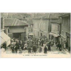 carte postale ancienne 32 AUCH. Le Marché aux Herbes 1916. Boucherie Hippophagique