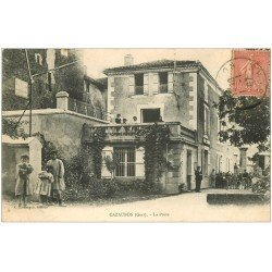 carte postale ancienne 32 CAZAUBON. La Poste 1907