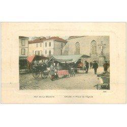 carte postale ancienne 32 EAUZE. Place de l'Eglise colorisée. Hall de la Dépèche.