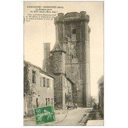carte postale ancienne 32 GASCOGNE-BASSOUES. Donjon carré 1913 petite animation