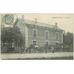 carte postale ancienne 32 GIMONT. La Gare attelages Diligences 1904