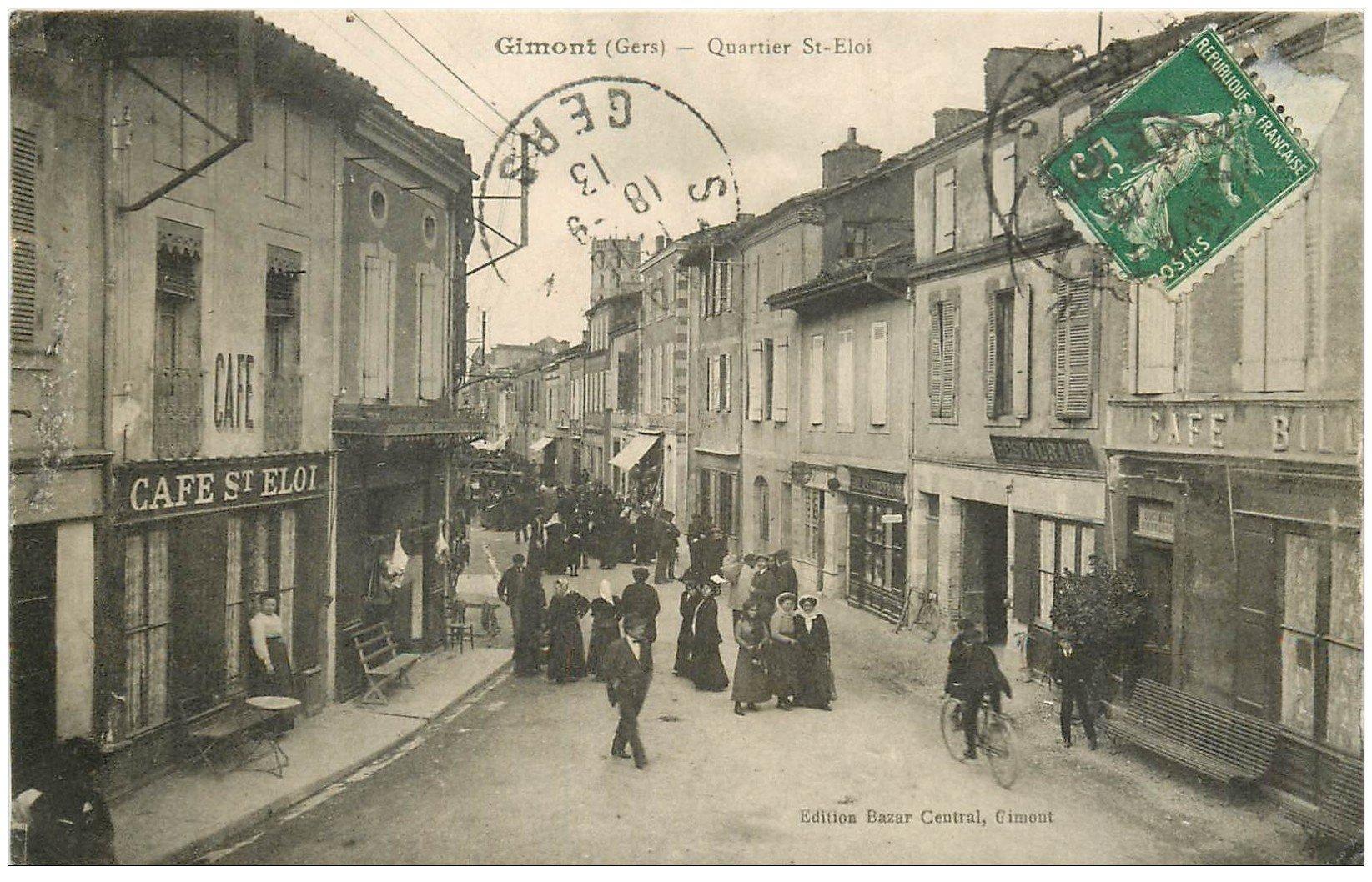 carte postale ancienne 32 GIMONT. Quartier Saint-Eloi 1913. Café Billard
