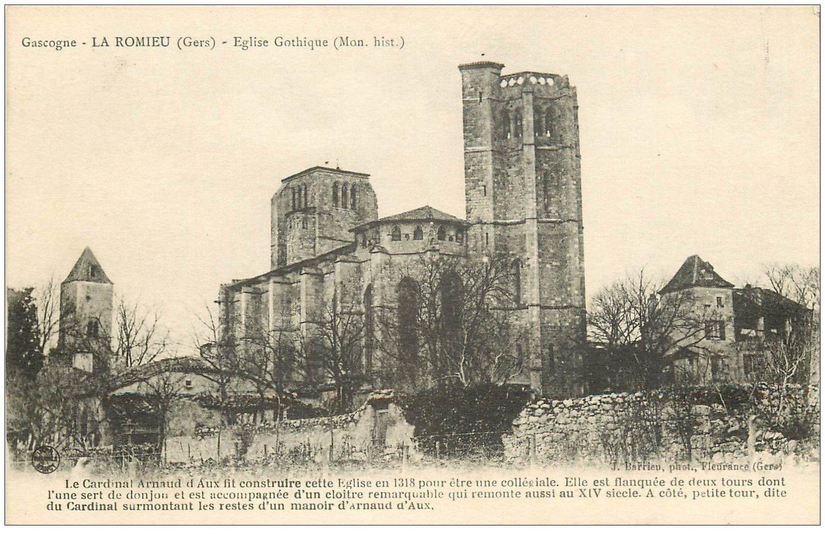 carte postale ancienne 32 LA ROMIEU. Eglise