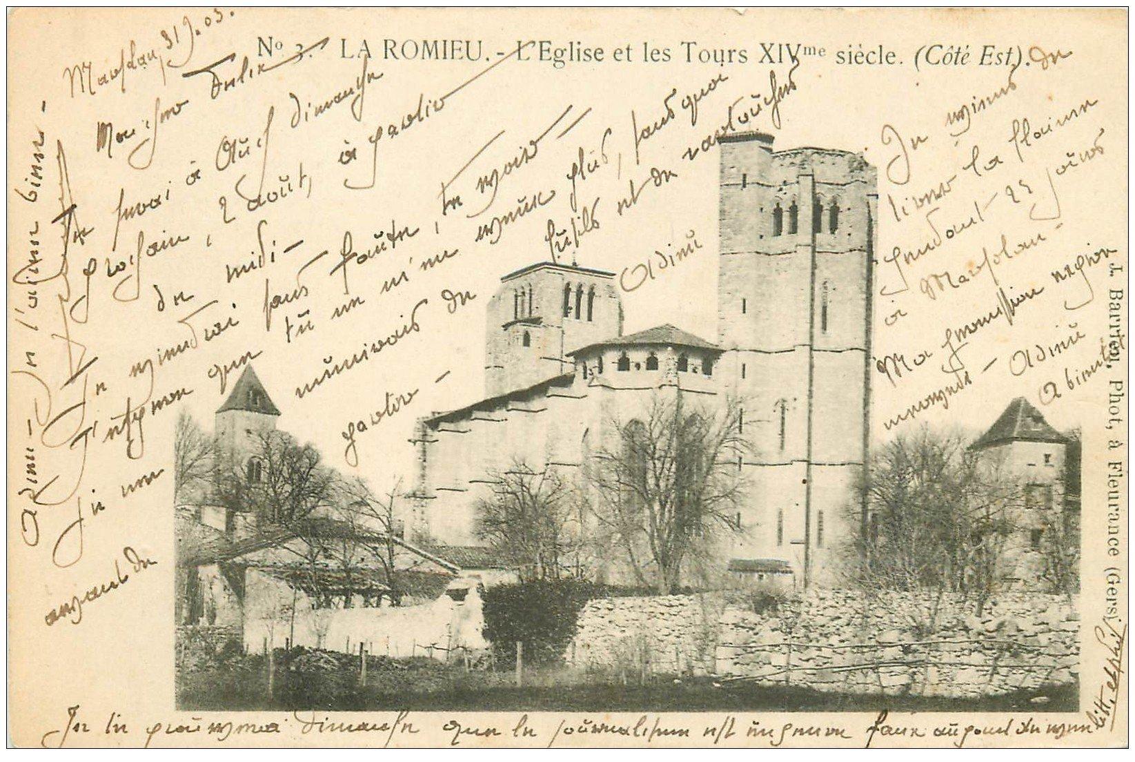 carte postale ancienne 32 LA ROMIEU. Eglise et Tours 1903