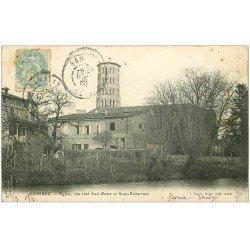 carte postale ancienne 32 LOMBEZ. Eglise et Sous-Préfecture 1905
