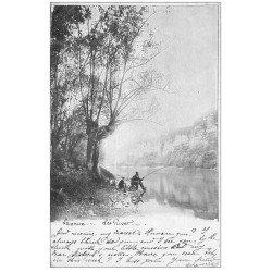 carte postale ancienne Rare 32 LANNUX. Pêcheur à la Ligne 1904. Tampon publicitaire Champagne Mercier Epernay