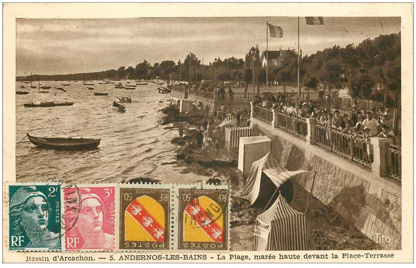 carte postale ancienne 33 ANDERNOS-LES-BAINS. Plage Place-Terrasse 1947