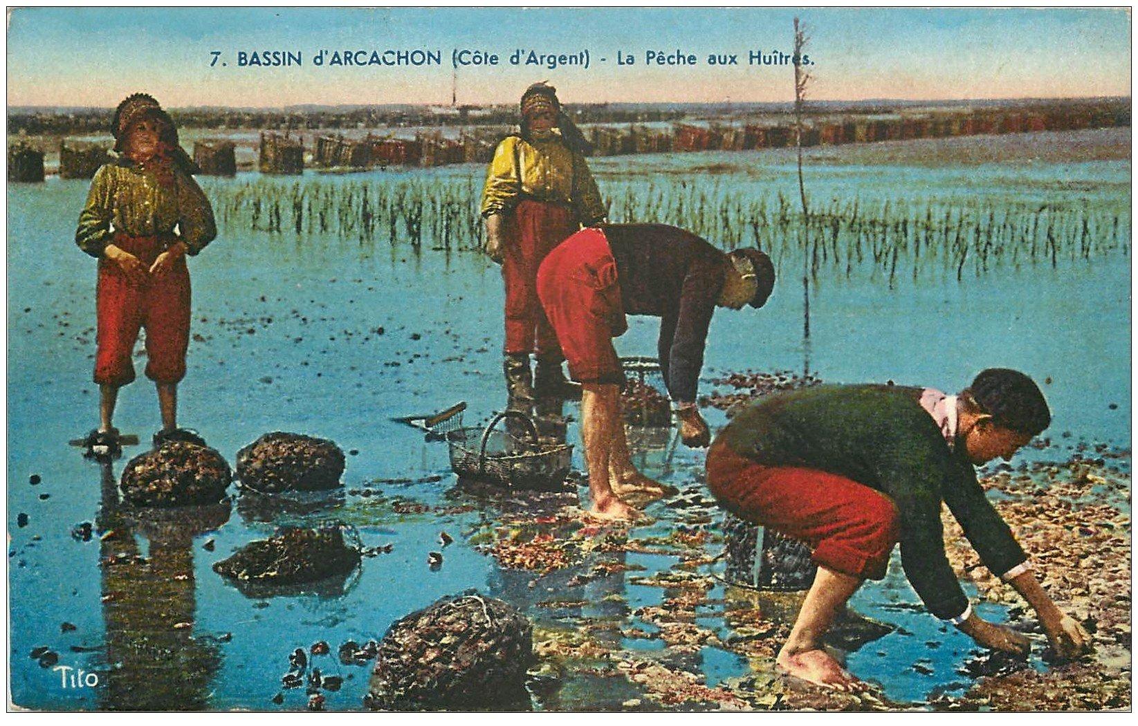 carte postale ancienne 33 ARCACHON. Pêche aux Huîtres 1939