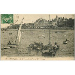carte postale ancienne 33 ARCACHON. Pêcheurs et Casino Nouvelle Jetée 1916