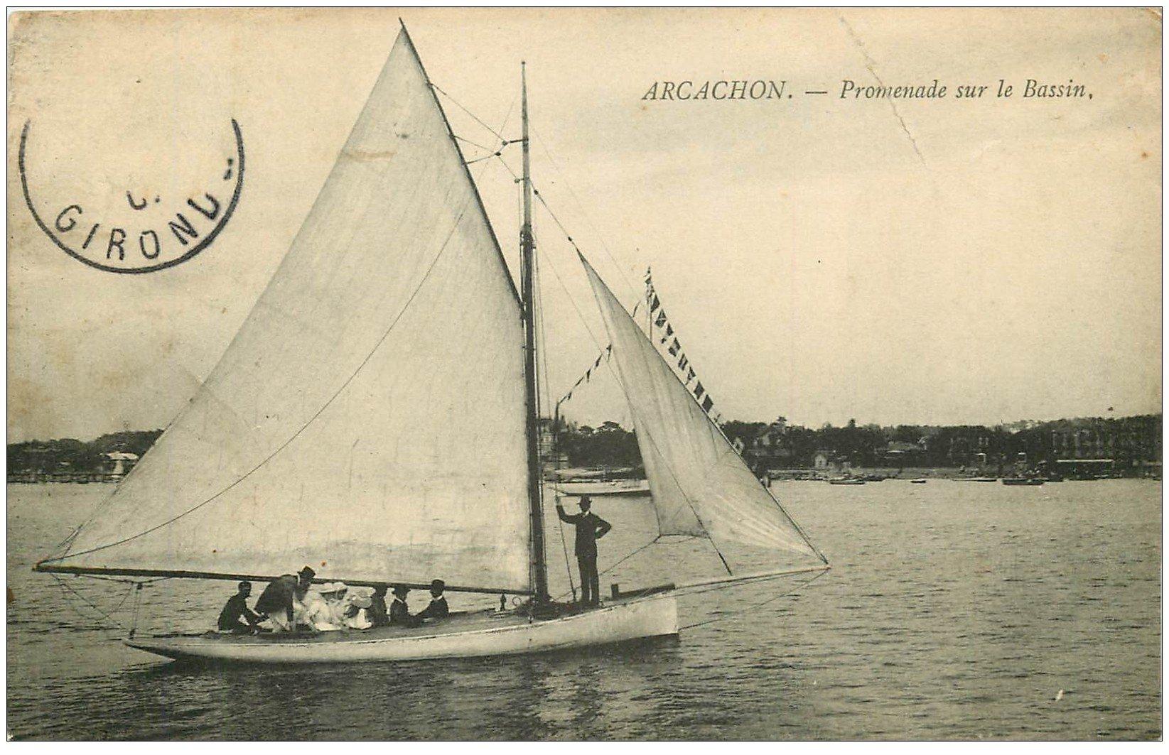 carte postale ancienne 33 ARCACHON. Promenade sur Bassin 1907