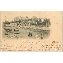 carte postale ancienne 33 ARCACHON. Rare la Plage 1900