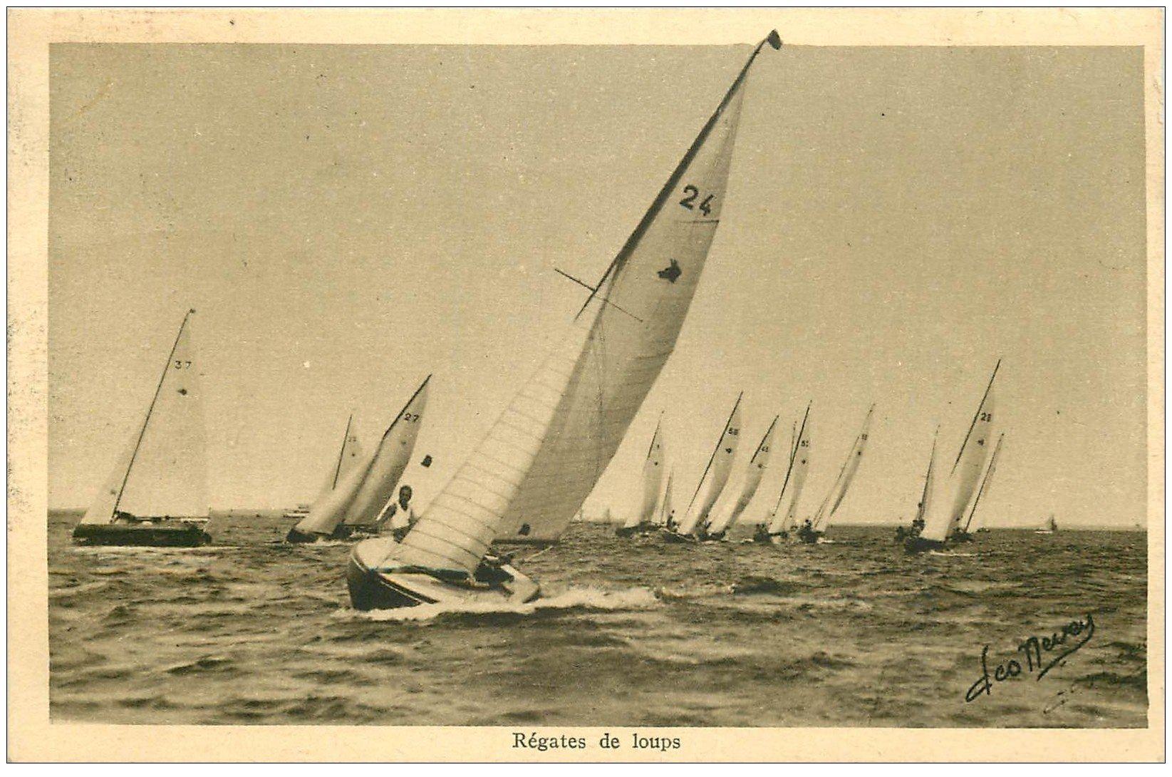 carte postale ancienne 33 ARCACHON. Régates de Loups 1937