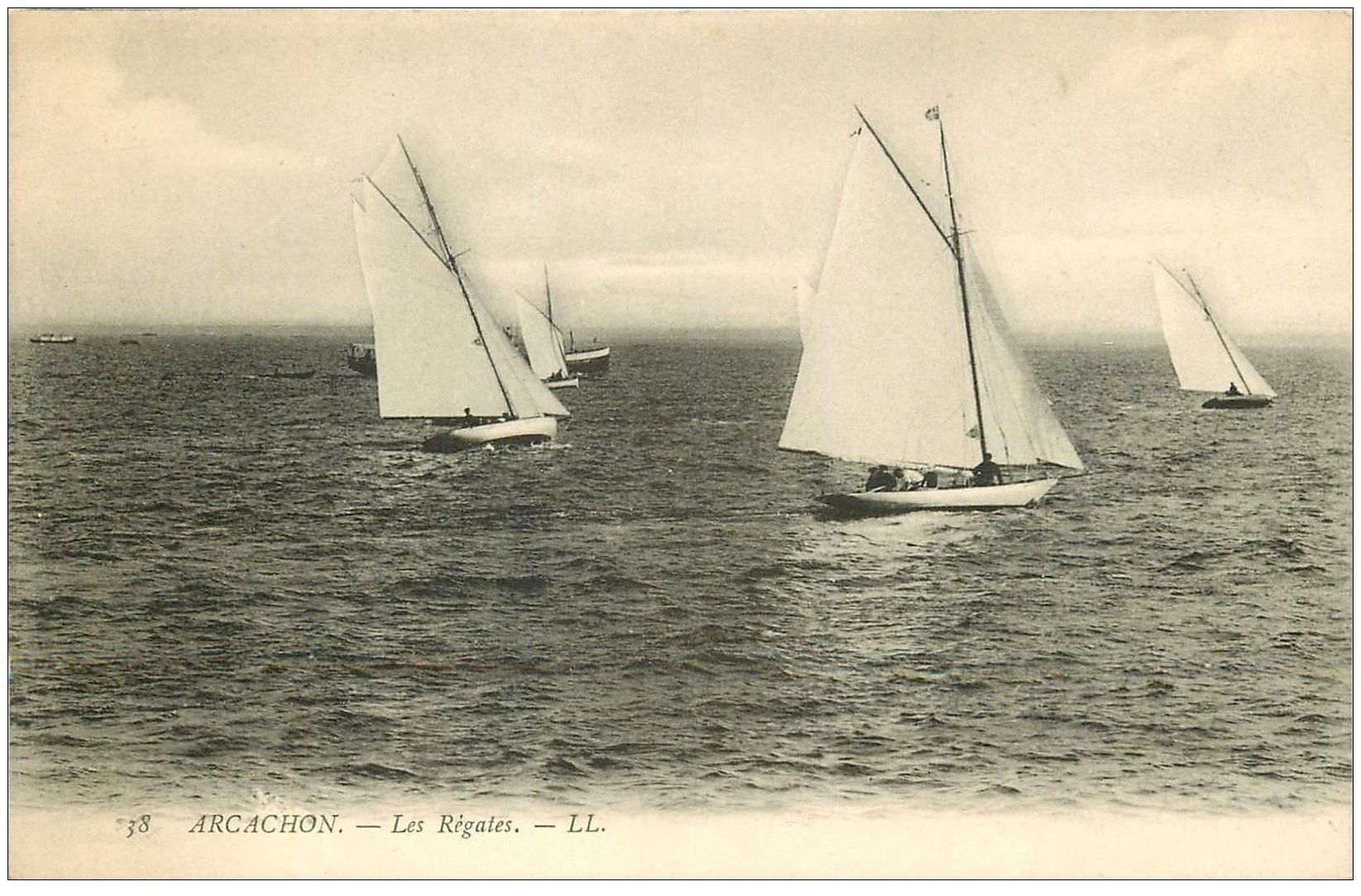 carte postale ancienne 33 ARCACHON. Régates LL 38
