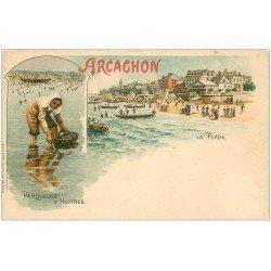 carte postale ancienne 33 ARCACHON. Une Parqueuse d'Huîtres vers 1900