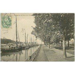 carte postale ancienne 33 BLAYE. Quai de la Gare et Chenal 1907