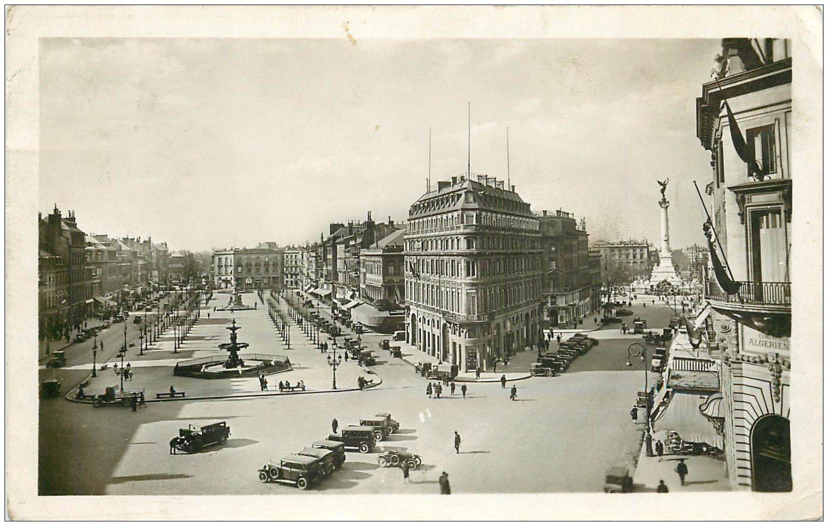 33 BORDEAUX. Allées Tourny 1936. Carte Photo émaillographie