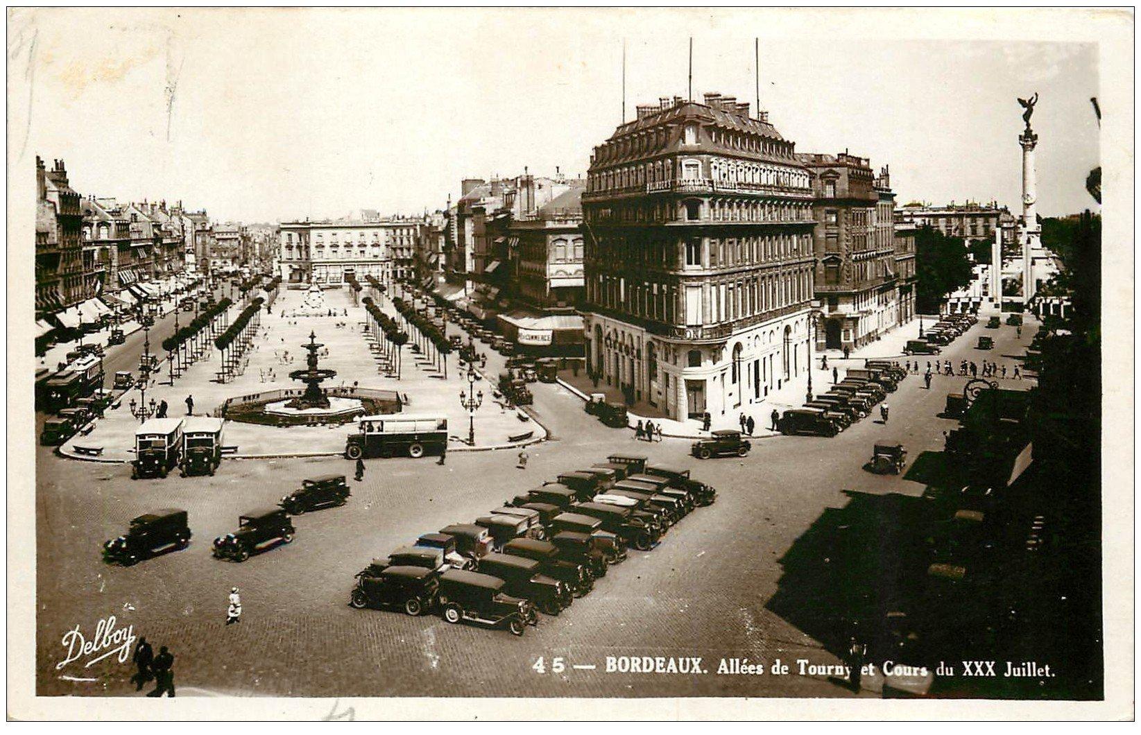 33 BORDEAUX. Allées Tourny 1937. Carte Photo émaillographie