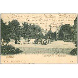 carte postale ancienne 33 BORDEAUX. Esplanade Jardin Public 1902