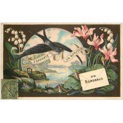 carte postale ancienne 33 BORDEAUX. Fantaisie 1917 Hirondelle et Muguet