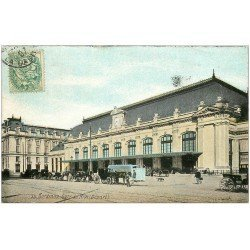 carte postale ancienne 33 BORDEAUX. Gare du Midi 1907 colorisée