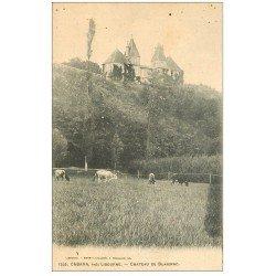 carte postale ancienne 33 CABARA. Château de Blaignac avec Vaches