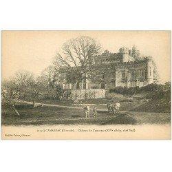 carte postale ancienne 33 CAMARSAC. Eleveurs Cheval et Boeufs au Château